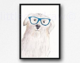 オタク眼鏡水彩絵画アート印刷水彩画プリント水彩壁アート フォックス水彩画を着てオタク Fox by Littlecatdraw
