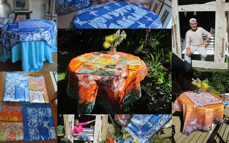 We sell our Batik on ETSY, in our shop goldphinbatik. Our workshop is small and we do whatever we do ourselfes, We make tablecloths, silk scarfs, Murals and Fine Art.