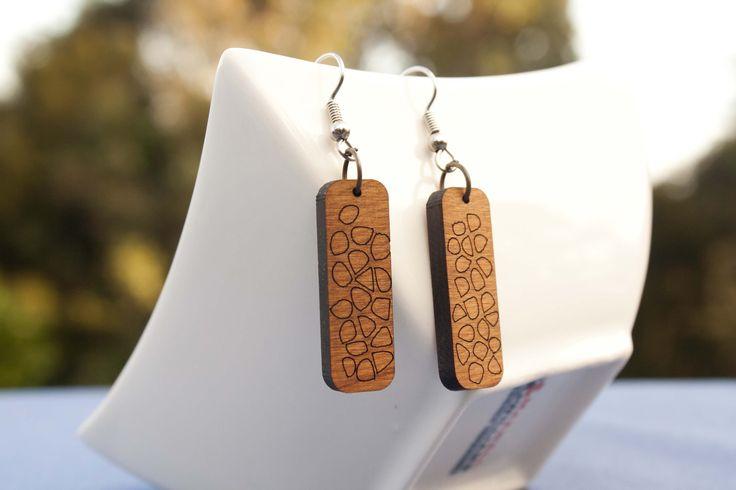 Cellular engraved wooden earrings - $35