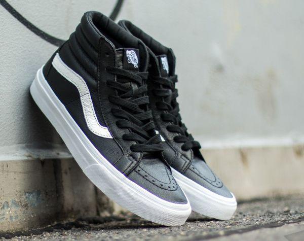 Vans Sk8 Hi cuir premium noir (1) | Vans sk8, Black sneakers ...