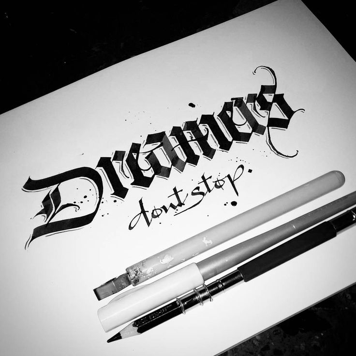 'Dreamers don't stop' #calligraphy #calligraphymasters #calligraffiti #handlettering #handwriting #handstyle #freehand #lefthand #lefty #gothic #custom #textura #lettering #paindesignart @handmadefont #tyxca #typematters #typism #typegang #goodtype #artoftype #thedailytype #designspiration #automaticpen #pilot #parallelpen #royaltalens #ecoline