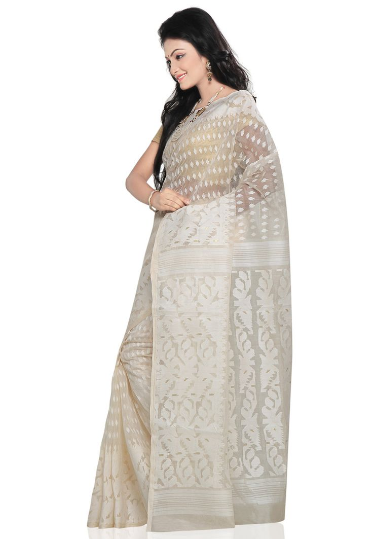 White Cotton Dhakai Jamdani Handloom Saree