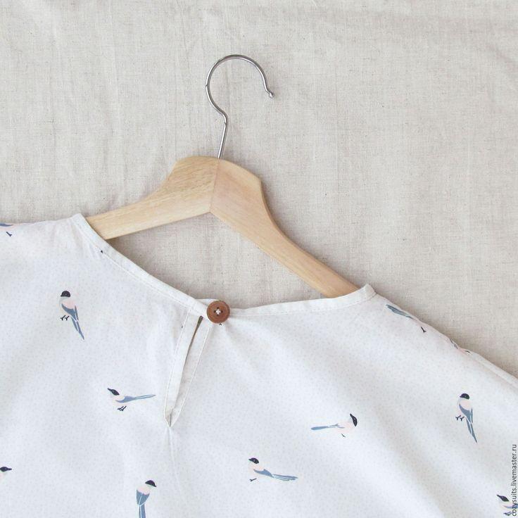 Купить Умиротворяющие птички - белый, рисунок, хлопок 100%, хлопок
