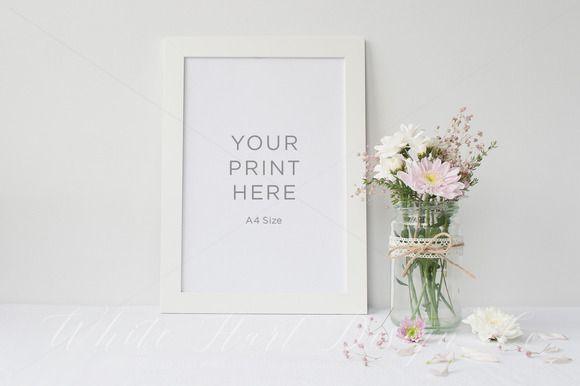 Frame mock up - A4 - PSD/Jpeg by White Hart Design Studio on Creative Market