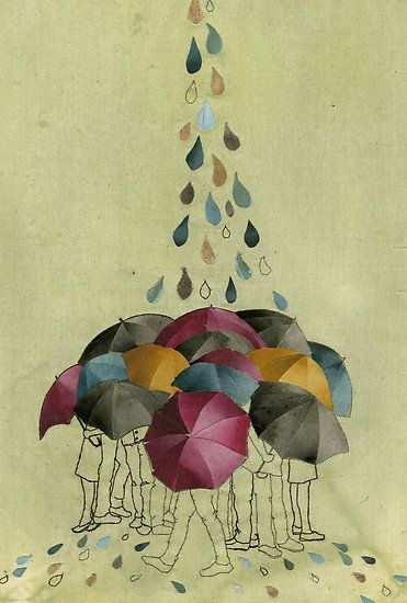 Umbrellas on Spring Street by Cassandra King. Thread, fabric and acrylic