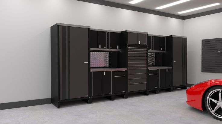 This sleek grey cabinet unit is 81″ and 196″ long. Like all of our garage cabinets, they are custom built in North America and made from 16 gauge steel that is powder coated to the color of your choosing.