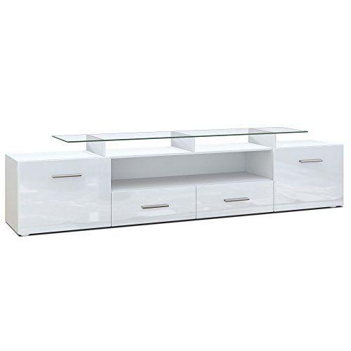 TV Board Lowboard Almada V2, Korpus in Weiß matt / Front in Weiß Hochglanz sieht in Design, Funktionen und Funktion gut aus. Die beste Leistung dieses Produkts ist in der Tat einfach zu reinigen und zu kontrollieren. Das Design und das Layout sind absolut erstaunlich, die es wirklich interessant und schön machen.....