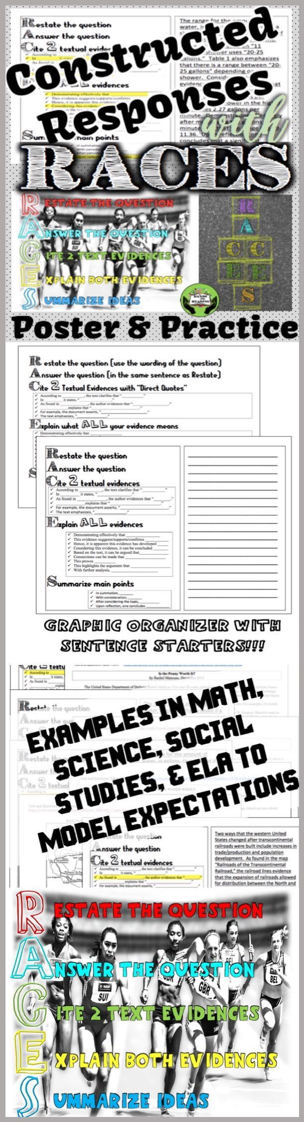 MAKING WRITING SHORT ANSWER RESPONSES EASY! Using the RACES method, students will develop constructed response skills. This resource is specifically designed for UPPER GRADE STUDENTS. Allow students to show their comprehension and increase student test scores and argumentative writing ability. This amazing process was recommended to me by several elementary school teachers and I could not believe I hadn't seen it being used in every middle and high school classroom. $2.00