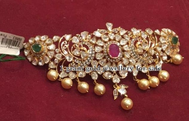 Indian Jewellery Designs: Pachi Work Peacock Choker