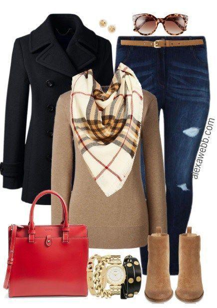Plus Size Blanket Scarf Outfit - Plus Size Fashion for Women - alexawebb.com #alexawebb
