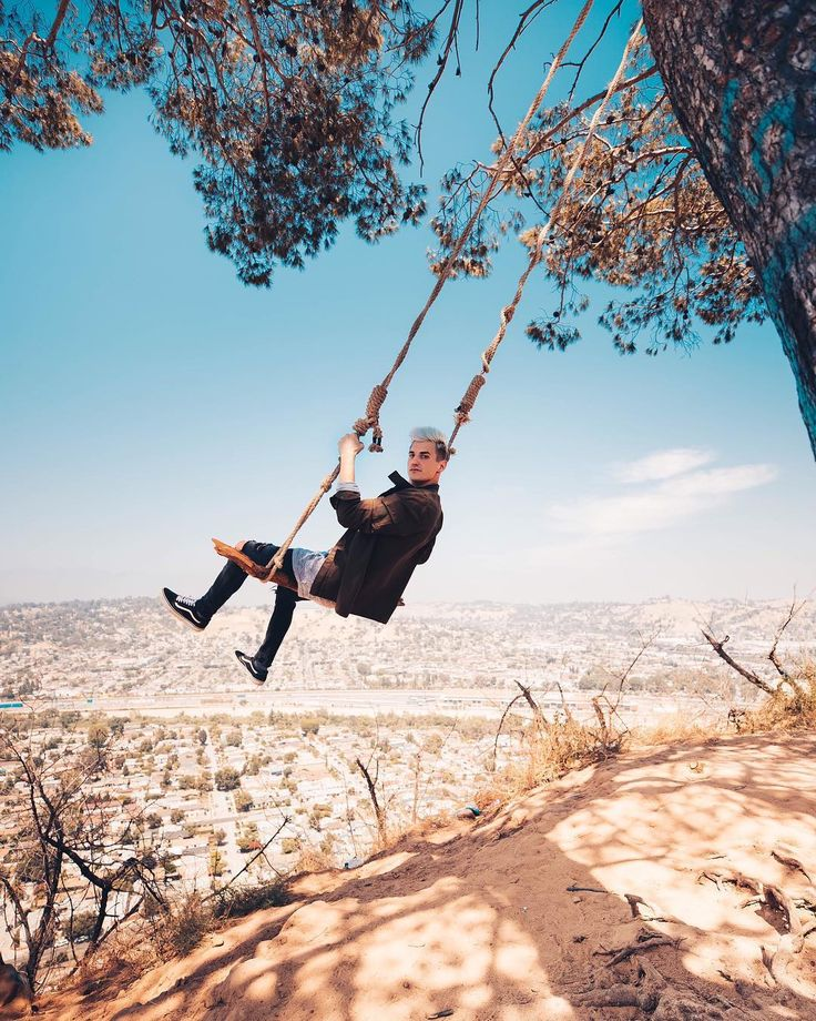 """this isn't the best swing to jump off of but it definitely has the BEST VIEW! the world is your…"""