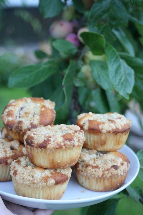 Plommonmuffins med havrecrunch