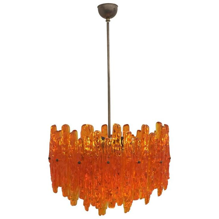 Orange Acrylic Icicle Chandelier in the Manner of Kalmar 1