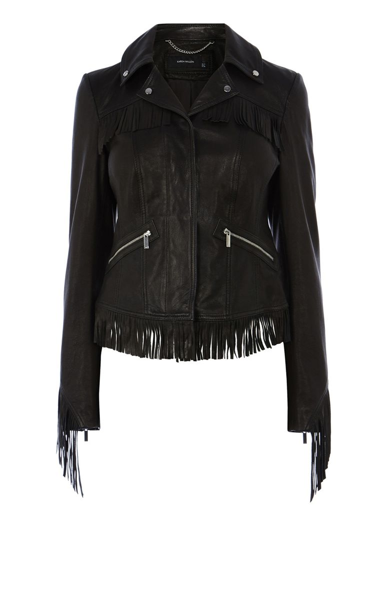 Fringed leather jacket | Luxury Women's jackets | Karen Millen