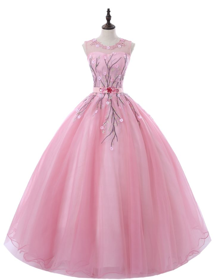 Rose Pink Ball Gown Evening Gowns Lace Appliques Emboridery Flowers Sweet 16 Teens Party Prom Dresses