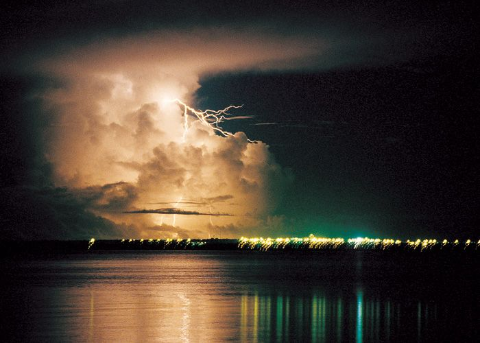 Wet season thunderstorm at night in Darwin, Australia.