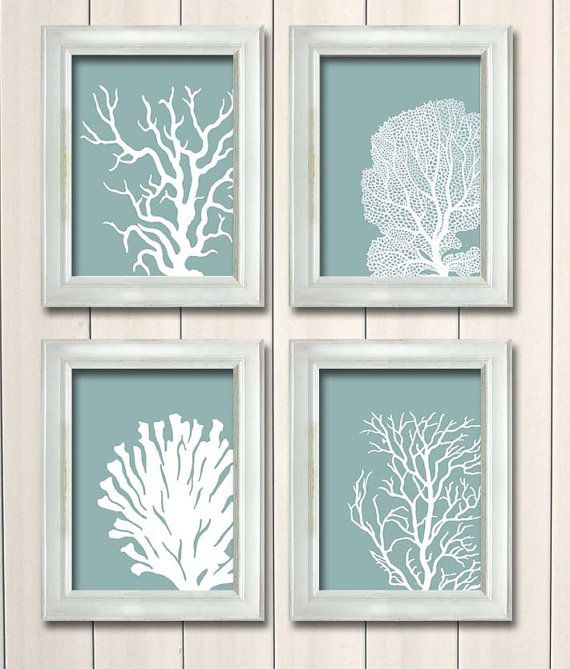 Set 4 Coral Prints Mist Blue/Green, Nautical print Poster Drawing Digital  Print Wall