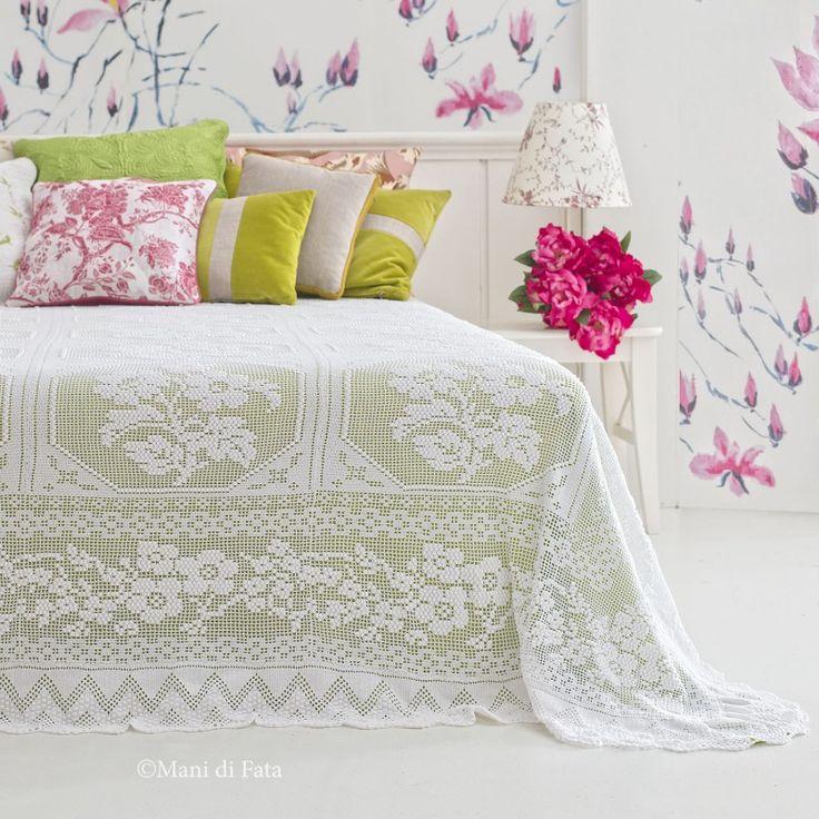 kit filati canetta per fare all'uncinetto il copriletto con piastrelle a fiori