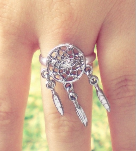 Dream Catcher Ring by ChezlyXsane on Etsy, $10.00  I want this wedding ring...maybe real silver with a diamond tied on it somewhere in the center