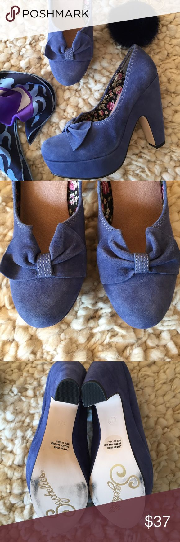 "Seychelles Ampersand Blue Suede Platform Pumps Channel your inner Pin-Up Girl in these adorable blue suede pumps! Never worn! Platform is 1.5"" and heel is 5"". Soft blue suede, no flaws. Seychelles Shoes Platforms"