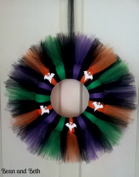 Halloween Tulle Wreath // Halloween Home Decor // Halloween Wreath with Ghosts // Wall Hanger Wreath // Decorative Wreath by BeanandBeth on Etsy https://www.etsy.com/listing/250027742/halloween-tulle-wreath-halloween-home