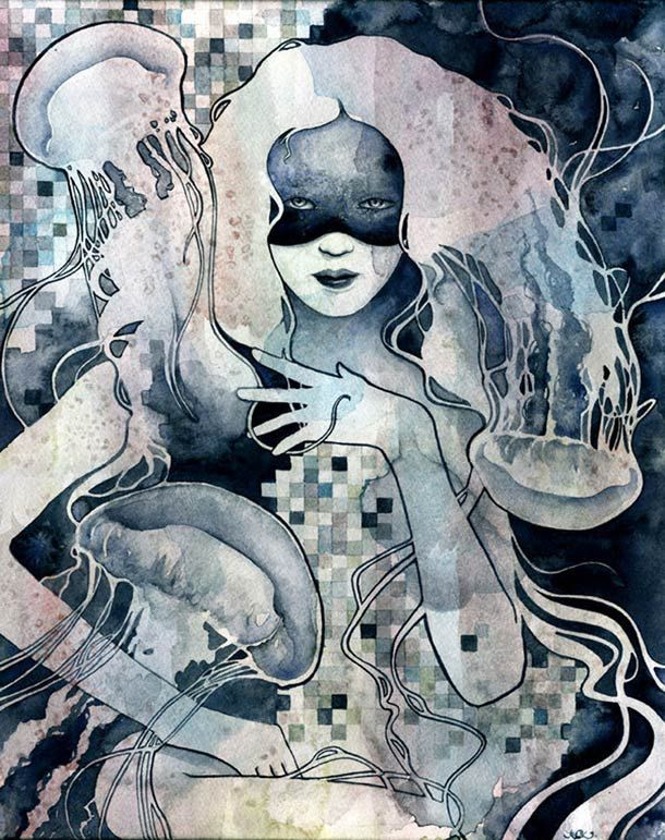Kelly-McKernan-illustration-6: Paintings Art, Art Illustrations, Kellymckernan, Watercolor Paintings, Kelly Mckernan, Shower Curtains, Jelly Fish, Drawing, Jellyfish