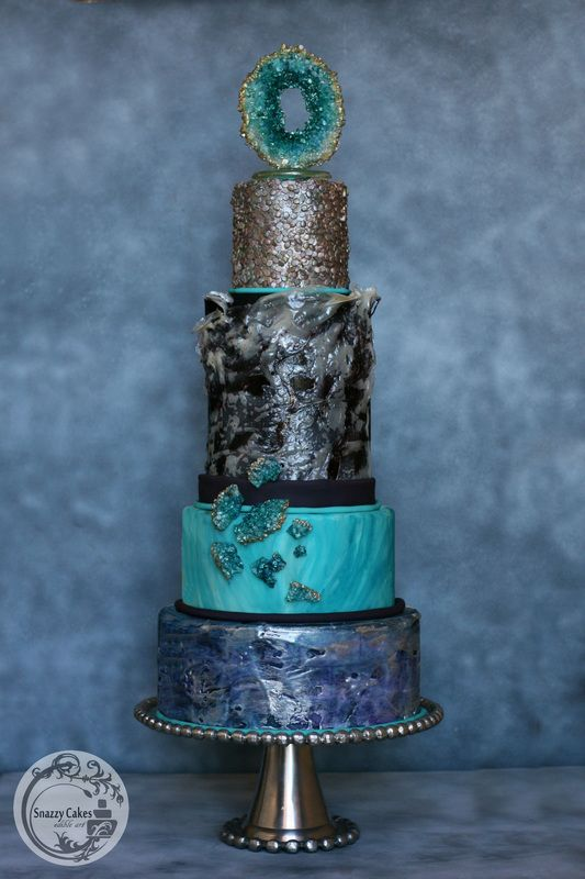 blue black teal wedding cake with fabric effect, painted blue and edible sequins