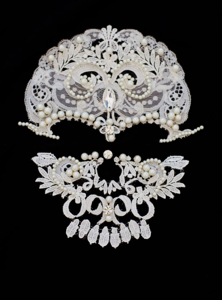 #Lace #skull #face #handmade #applique  oj-fashion.com