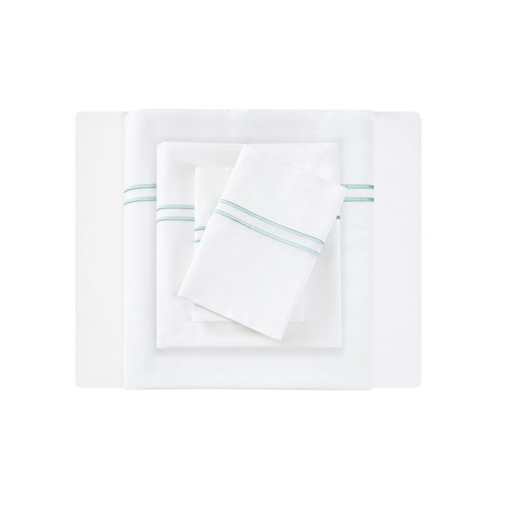 Embroidered Cotton Sateen Sheet Set Queen White & Aqua 400 Thread Count - Sleep Philosophy, White/Blue