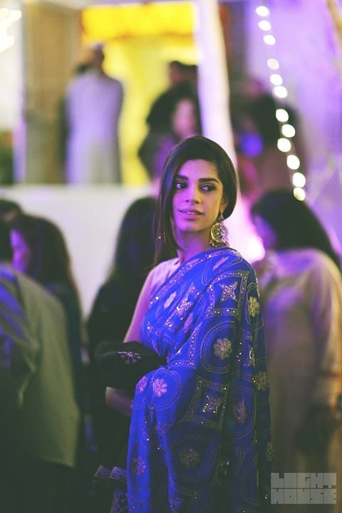 allthingspakistanicelebs:  Sanam Saeed at a wedding. Photography by Ali Khurshid. Earrings