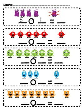 Monster Math subtraction problems FREEBIE!!