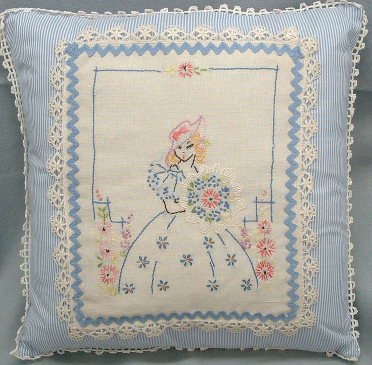 Add a vintage hanky to a pillow and use lace edging to complete it