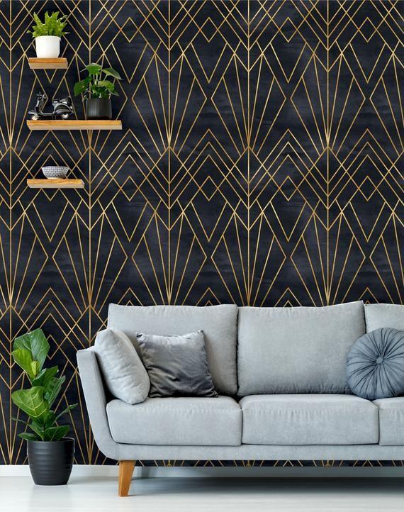 Removable Peel N Stick Wallpaper Self Adhesive Wall Etsy Peel N Stick Wallpaper Art Deco Wallpaper Wall Deco