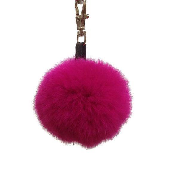 FREE SHIPPING Fur Keychain Pom Pom  Real Rabbit by TrixiCookies
