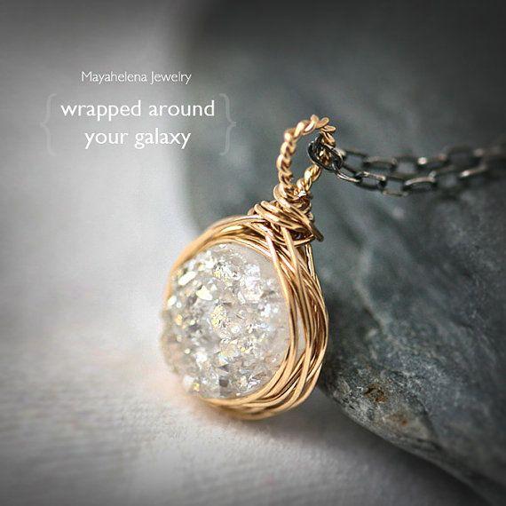 Wrapped Around Your Galaxy  White Titanium Druzy by Mayahelena