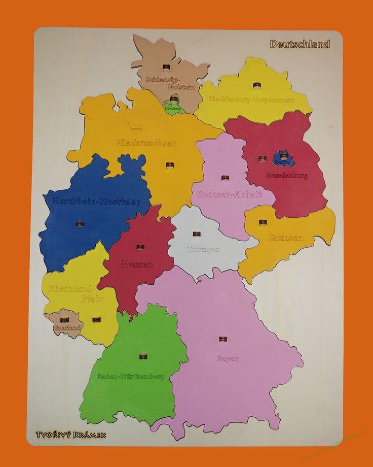 Puzzle mapa Německa, barevná