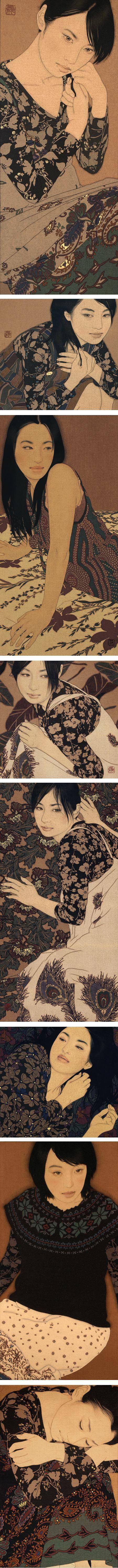 Ikenaga Yasunari, portraits of women in soot ink, mineral pigments, Menso brush http://ikenaga-yasunari.com/