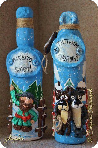 Поделка изделие Новый год Лепка Бутылочки - Подарочки Тесто соленое фото 1