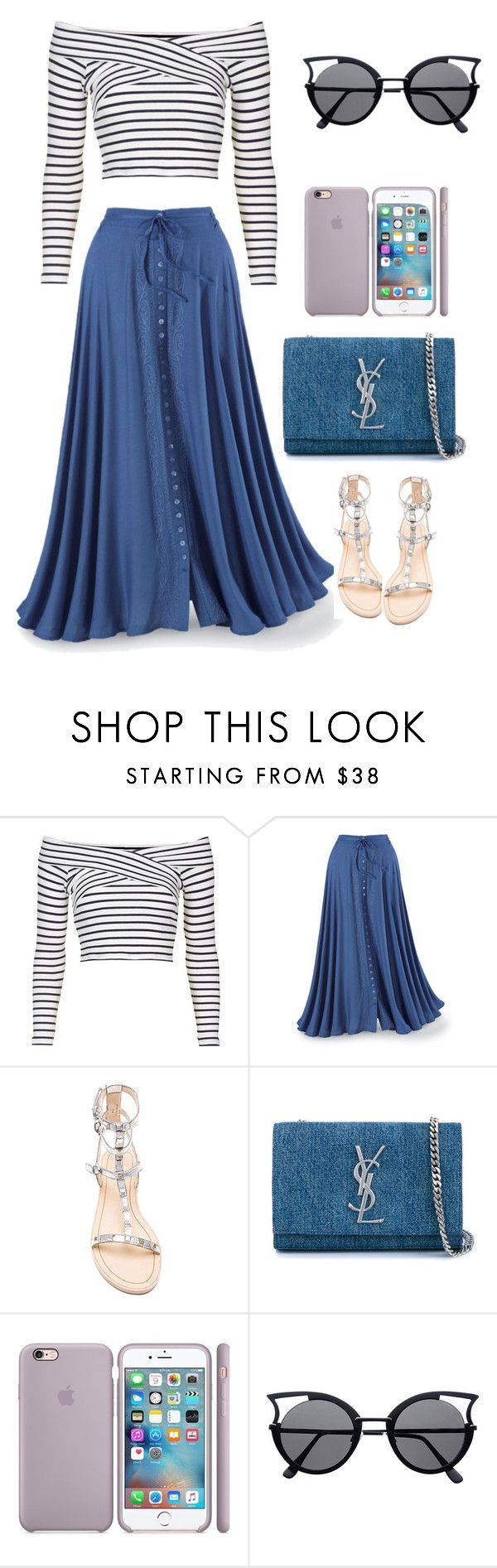 """Полосатая рубашка"" by natalia-127 ❤ liked on Polyvore featuring Topshop, Rebecca Minkoff and Yves Saint Laurent"