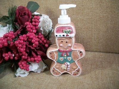 Gingerbread Man Ceramic Liquid Soap Dispenser Plastic Pump