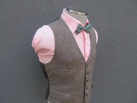 1950s Herringbone Tweed Vest / Wool Tweed Waistcoat Size 40