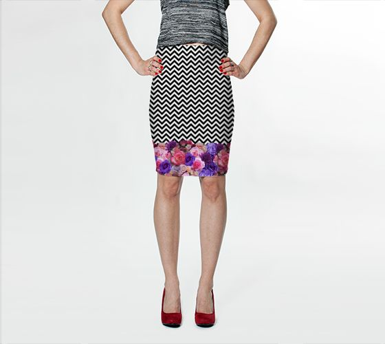 Floral Chevron Bodycon Skirt - Available Here: http://artofwhere.com/shop/product/44975