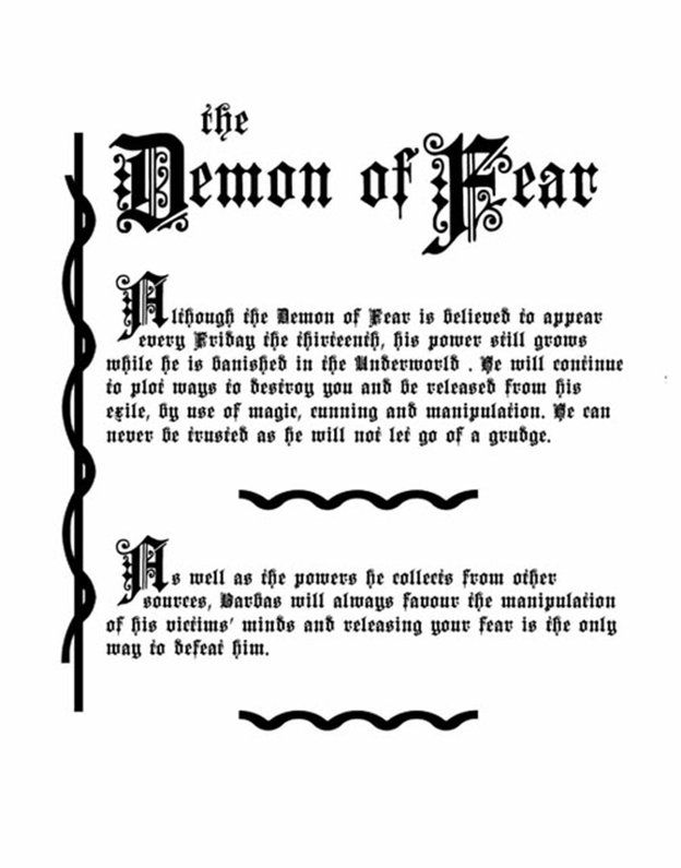 Charmed Series Book of Shadows: Barbas the Demon of Fear Pages Two of Four » Metaphysic Study