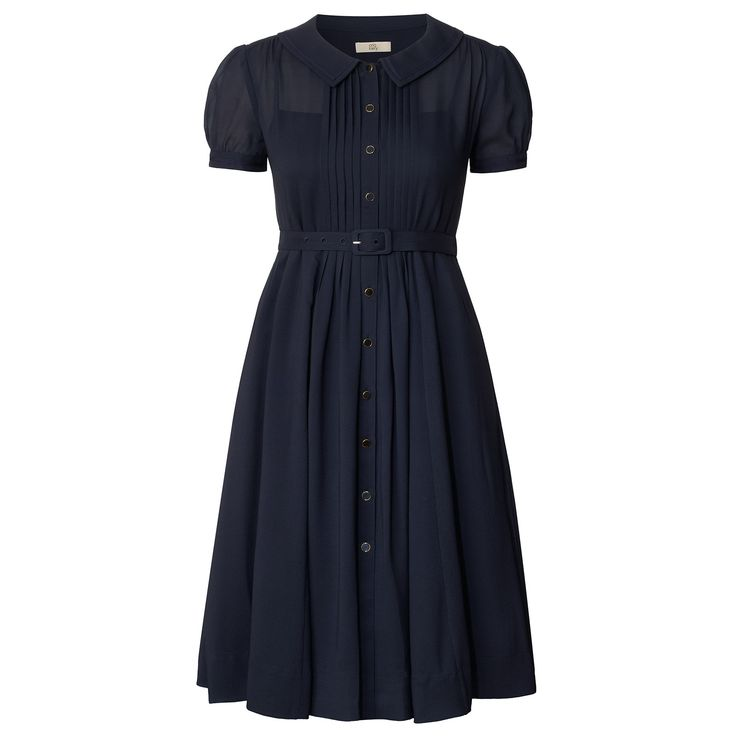 Orla Kiely: Short sleeved tea dress. This midi length dress has a wide collar with cream flower trim, button through at center front. Pleat detail to front bodice. The dress has an easy silhouette and a detachable belt to cinch in the waist. Dress comes with a detachable strappy slip for the lining.    Length: 38.8in