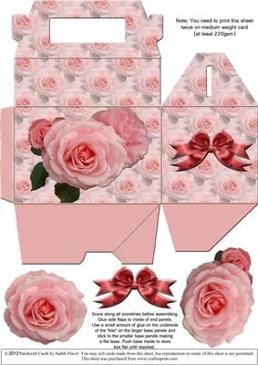 Gable top box Pink Roses 3 on Craftsuprint designed by Judith Flavel - A great gift box for a small gift, with a pretty floral background and optional decoupage roses and bow to add extra dimension. The box itself measures 11.5 x 7.5 x 7.5 cms (4½ x 3 x 3 inches), with a handy carry handle. It is very easy to make and it folds flat for storage until it is needed. PLEASE NOTE that you need to print this sheet TWICE to make one box. This box co-ordinates with Step by Step sheet cup230676_2…