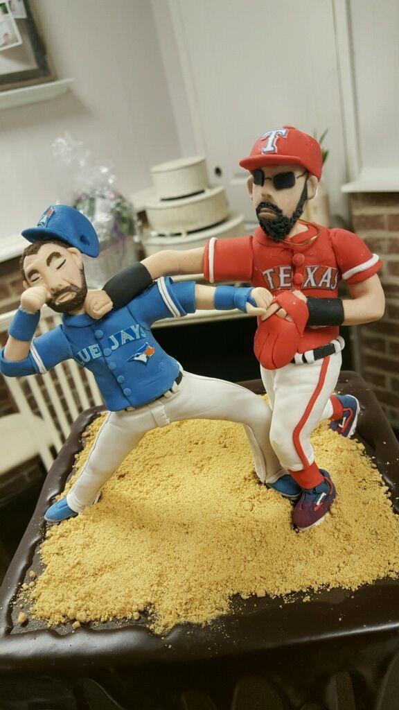 Bautista vs Odor: Texas Ranger Theme Grooms Cake Topper Sugar Bee Sweets Bakery  www.sugarbeesweets.com