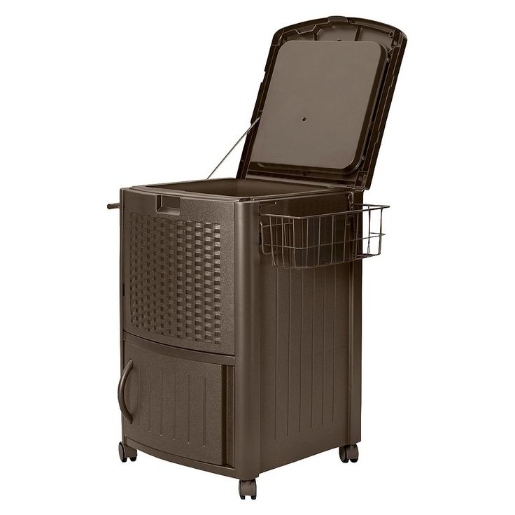 Suncast Cooler Box Resin Wicker 77 Quart, Brown