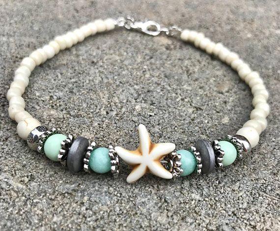 Ankle Bracelet, Beach Anklet, Starfish Anklets, Womans Anklet, Beaded Anklet, Anklet, Beach Jewelry – Pulseras