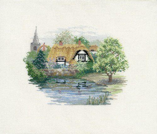 Derwentwater Rural England Village Pond Counted Cross Stitch Kit 14 count aida