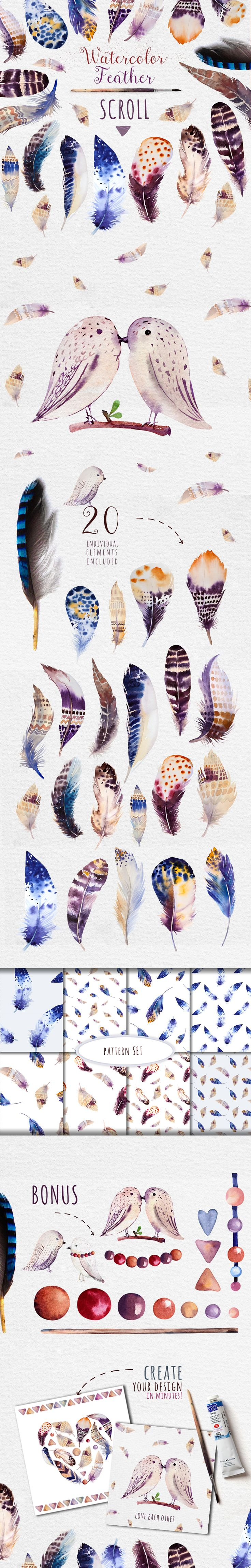 Watercolor feather DIY II by Peace ART on Creative Market